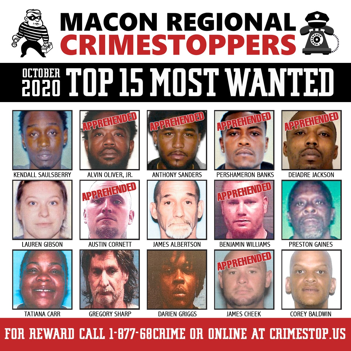 TOP 15 MOST WANTED OCTOBER 2020