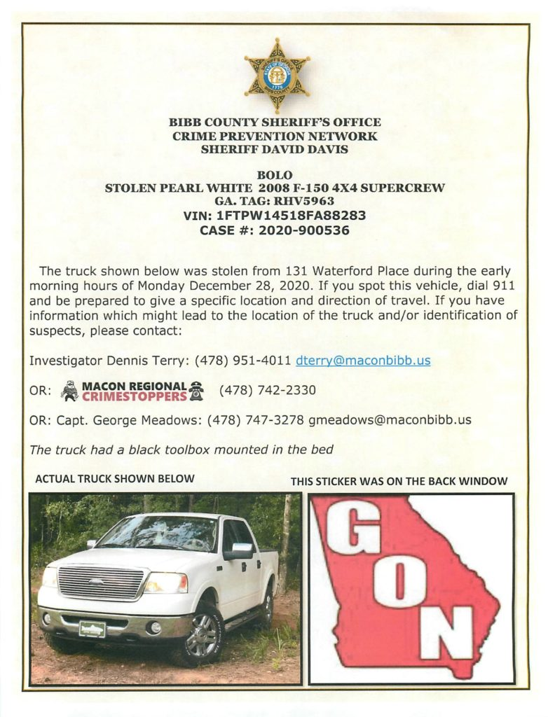 Locate 2008 F-150 4×4 Supercrew Stolen from Waterford Place in Macon GA